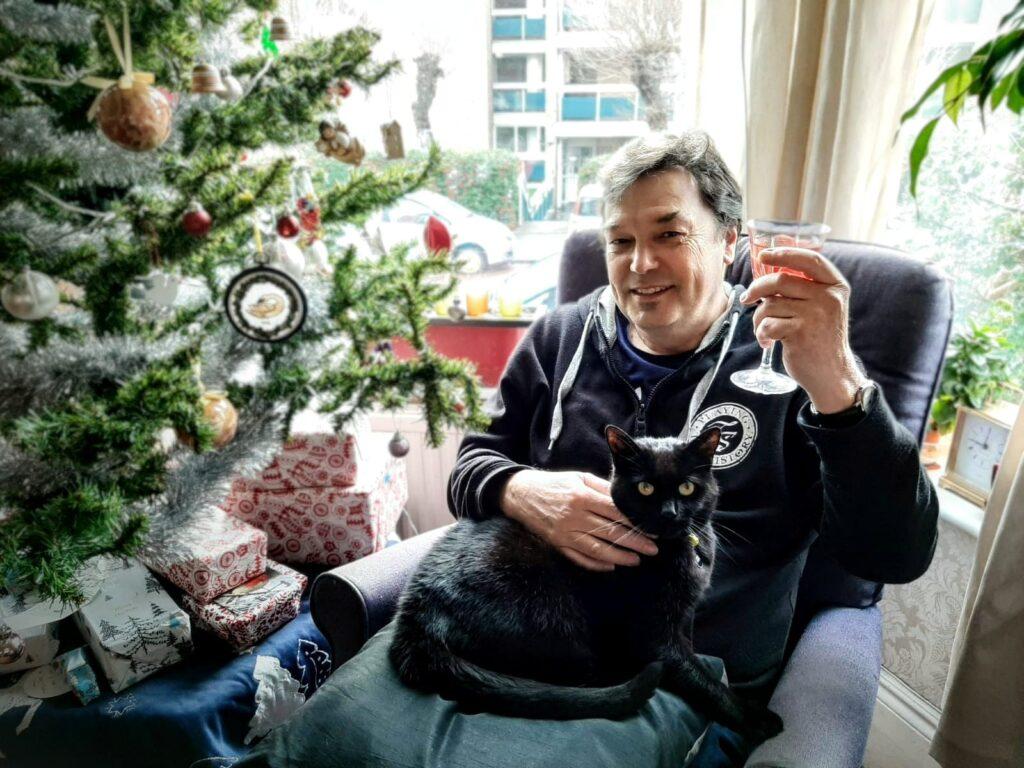 John with Cobweb by Christmas Tree